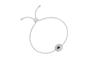 Diamond & Blue Sapphire Center Oval Bolo Bracelet