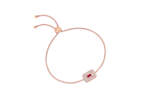 Diamond & Ruby Center Rectangular Bolo Bracelet