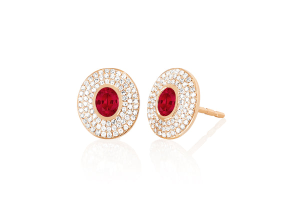 Diamond & Ruby Center Oval Stud Earring