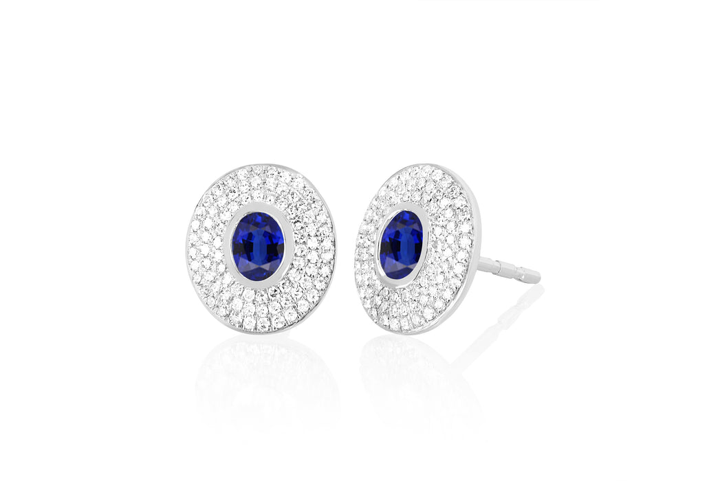 Diamond & Blue Sapphire Center Oval Stud Earring