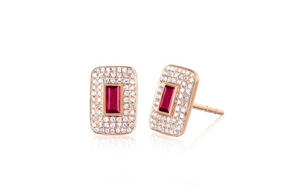Diamond & Ruby Center Rectangle Stud Earring
