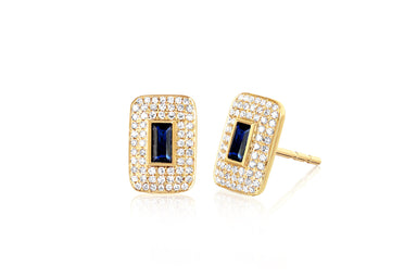 Diamond & Blue Sapphire Center Rectangle Stud Earring