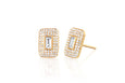 Diamond & White Quartz Center Rectangle Stud Earring