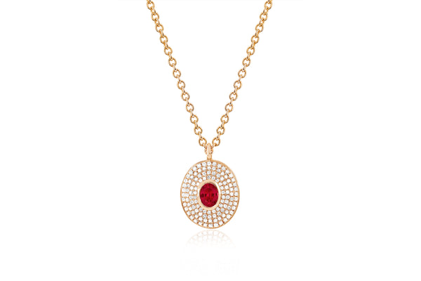 Diamond & Ruby Center Oval Necklace