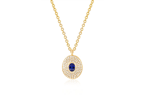 Diamond & Blue Sapphire Center Oval Necklace