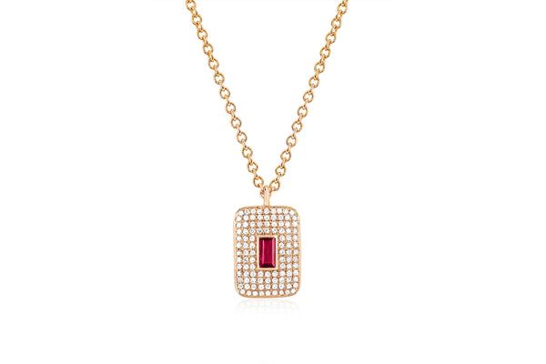 Diamond & Ruby Center Rectangle Necklace