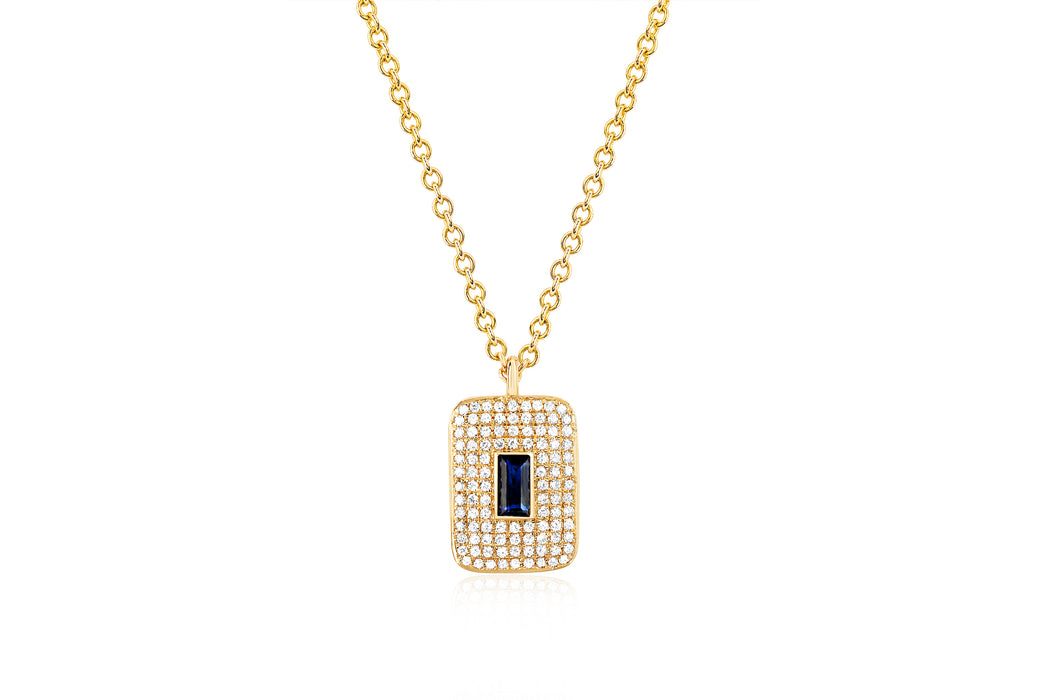 Diamond & Blue Sapphire Center Rectangle Necklace