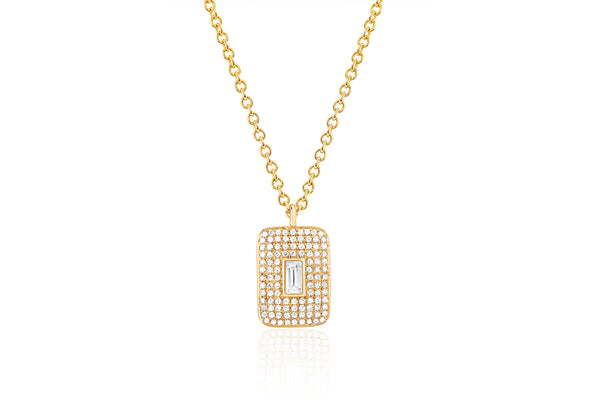 Diamond & White Quartz Center Rectangle Necklace