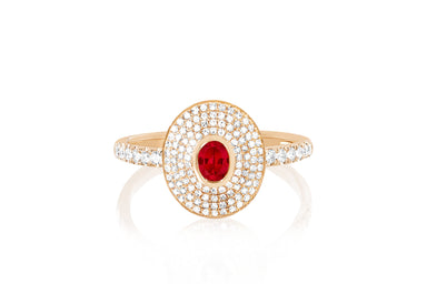 Diamond & Ruby Center Oval Ring