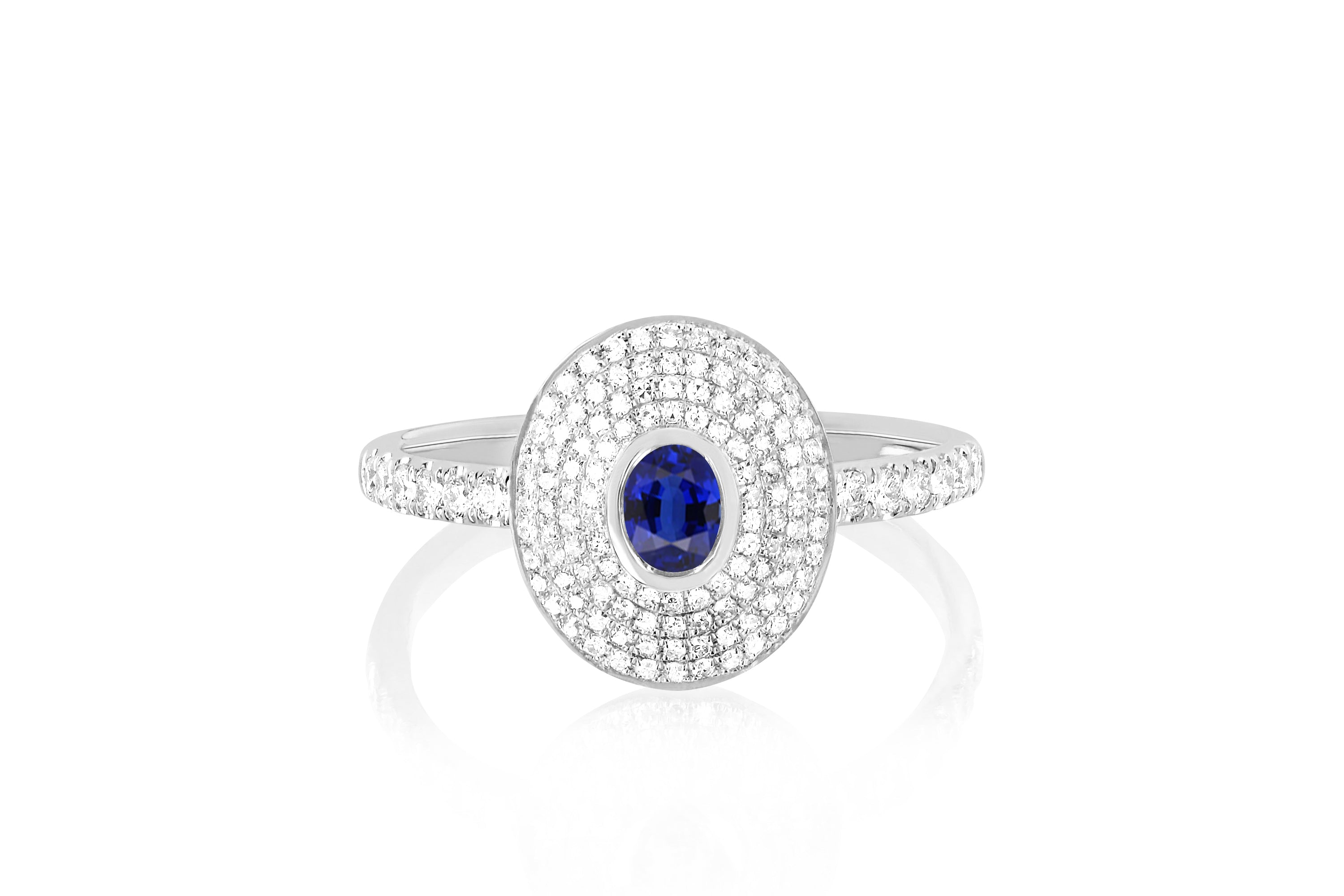 Diamond & Blue Sapphire Center Oval Ring