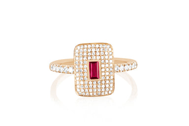 Diamond & Ruby Center Rectangle Ring