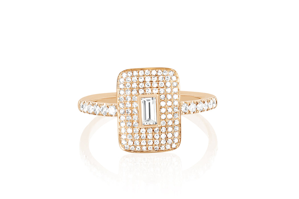 Diamond & White Quartz Center Rectangle Ring
