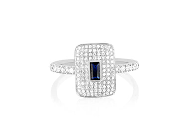 Diamond & Blue Sapphire Center Rectangle Ring