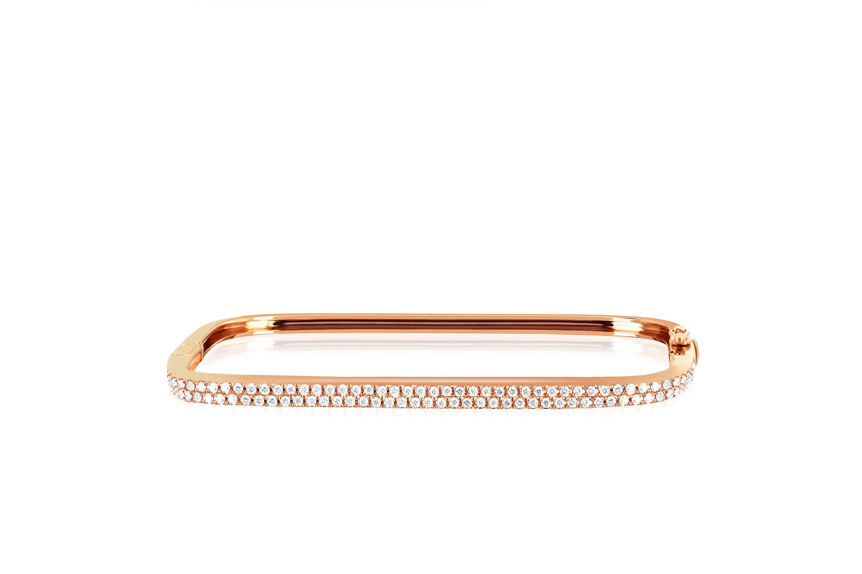 Diamond Double Row Square Bangle Bracelet
