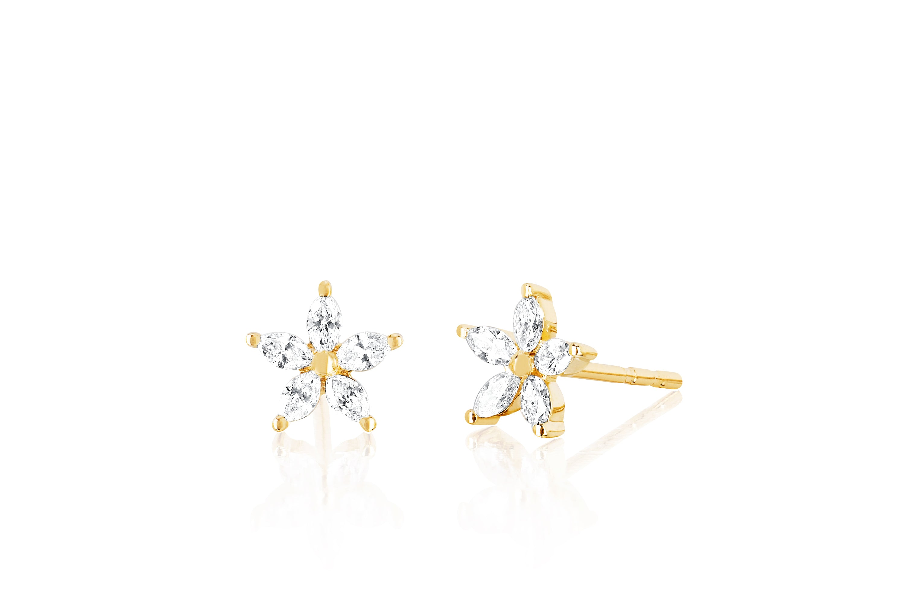 Diamond Marquise Flower Stud Earring