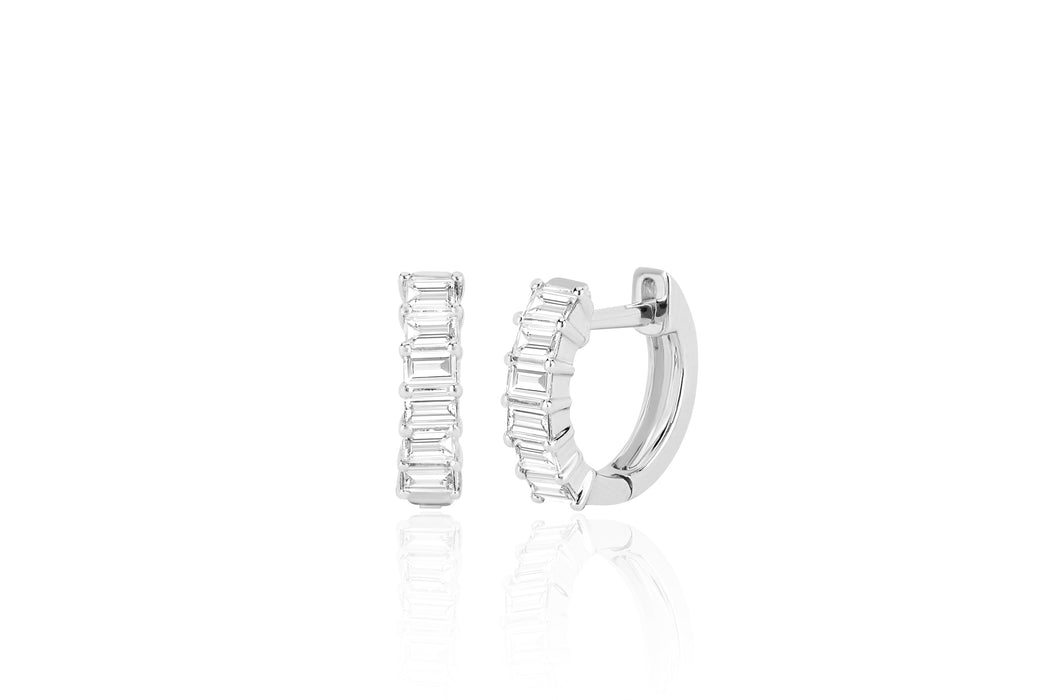 Prong Set Diamond Baguette Huggie Earring