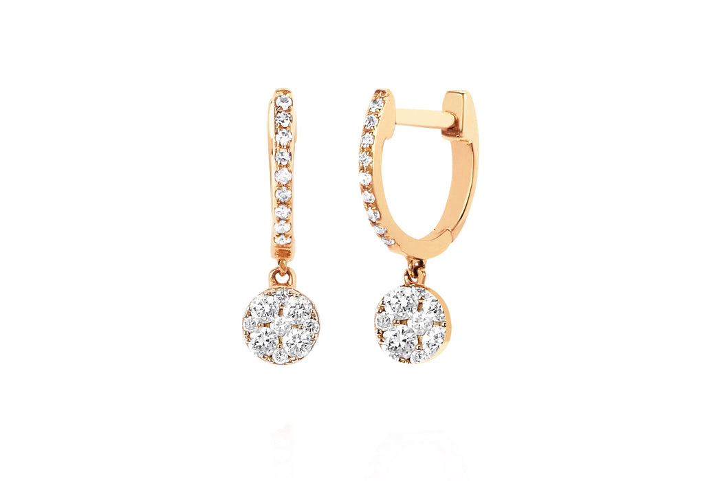 Diamond Mini Huggie With Full Cut Diamond Disc Drop Earring