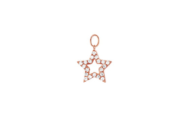 Diamond Open Star Huggie Charm