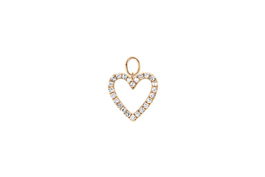 Diamond Open Heart Huggie Charm