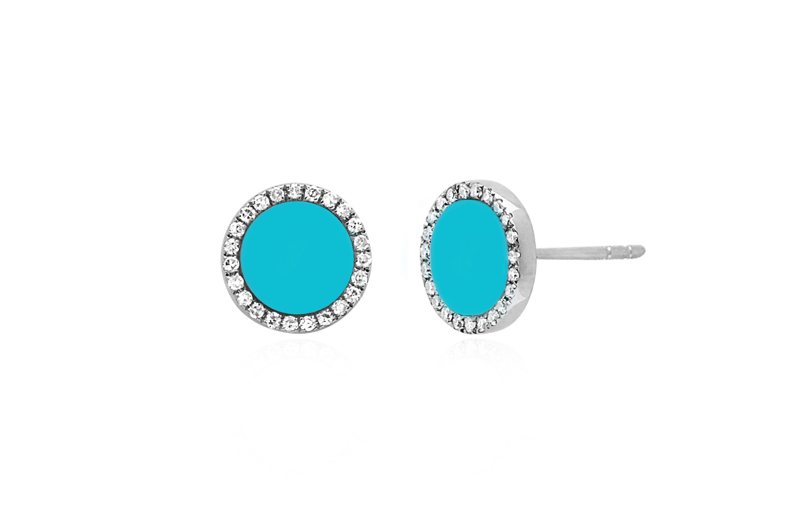 Diamond & Turquoise Enamel Disc Stud Earring