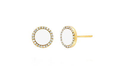 Diamond & White Enamel Disc Stud Earring