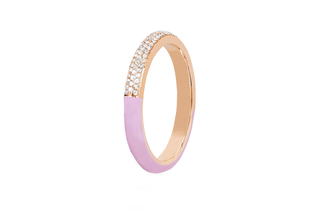 Two Tone Diamond & Light Pink Enamel Band Ring