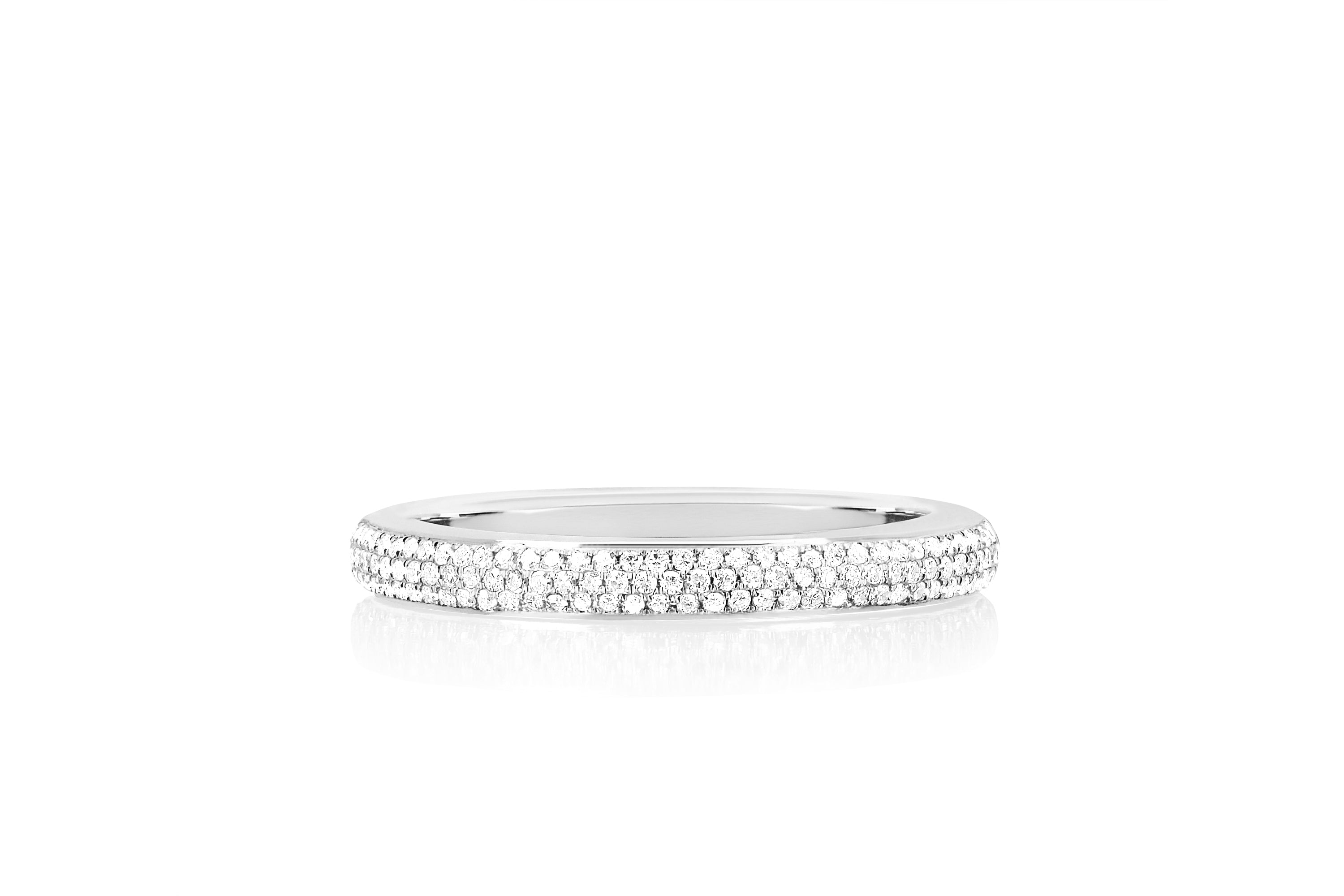 Two Tone Diamond & White Enamel Band Ring