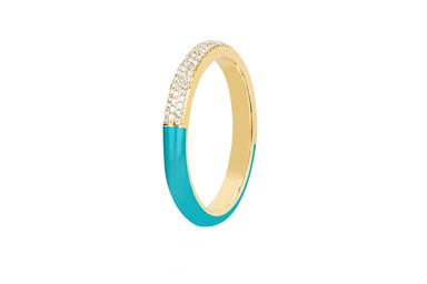 Two Tone Diamond & Turquoise Enamel Band Ring
