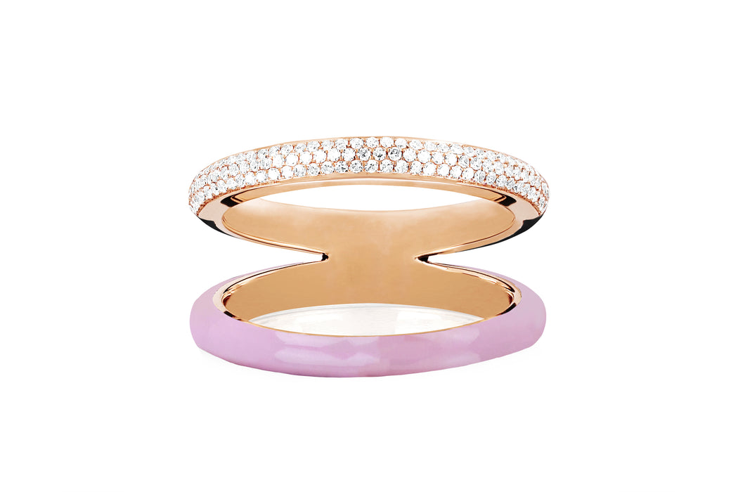 Two Tone Diamond & Light Pink Enamel Split Band Ring