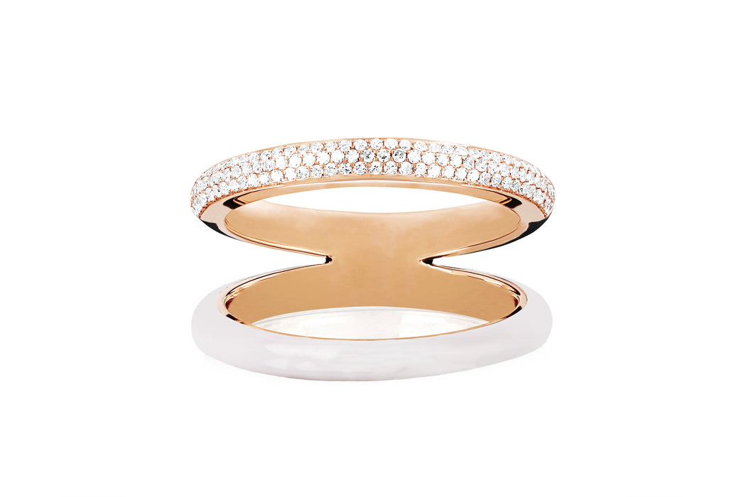 Two Tone Diamond & White Enamel Split Band Ring