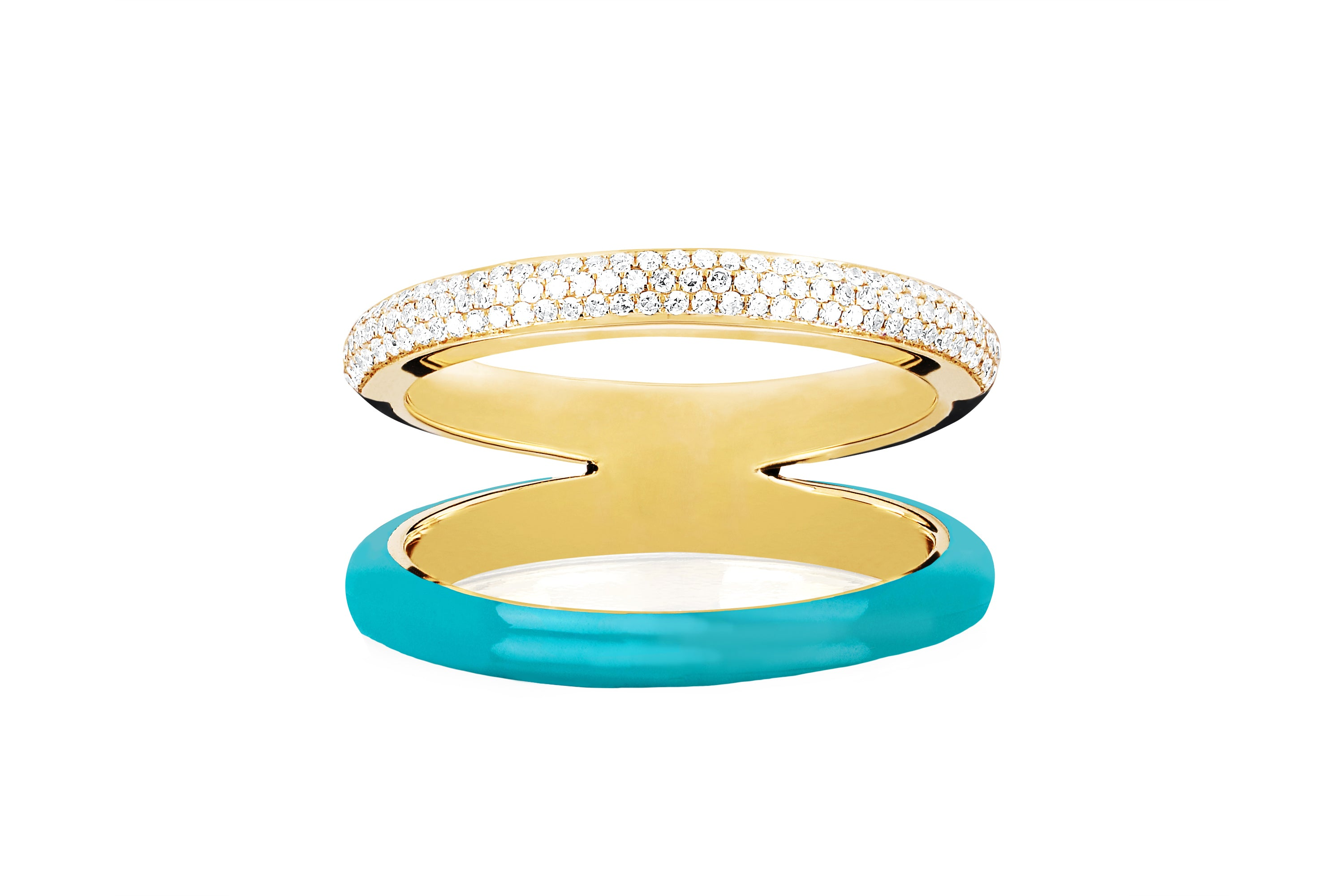 Two Tone Diamond & Turquoise Enamel Split Band Ring