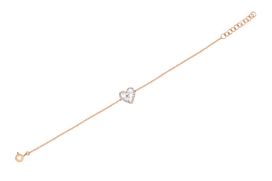Diamond White Topaz Heart Chain Bracelet