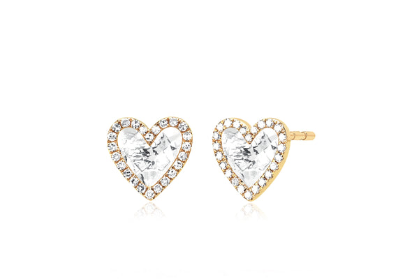Diamond & White Topaz Heart Stud Earring