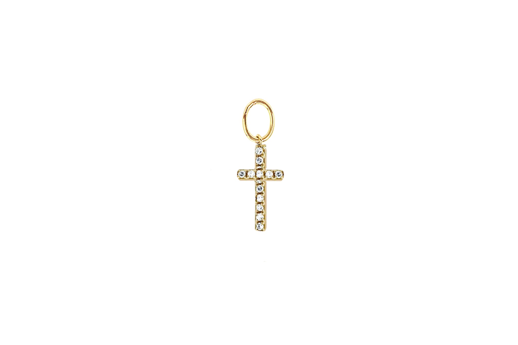 Diamond Cross Huggie Charm