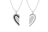 Diamond Black & White Enamel Heart Friendship Necklace