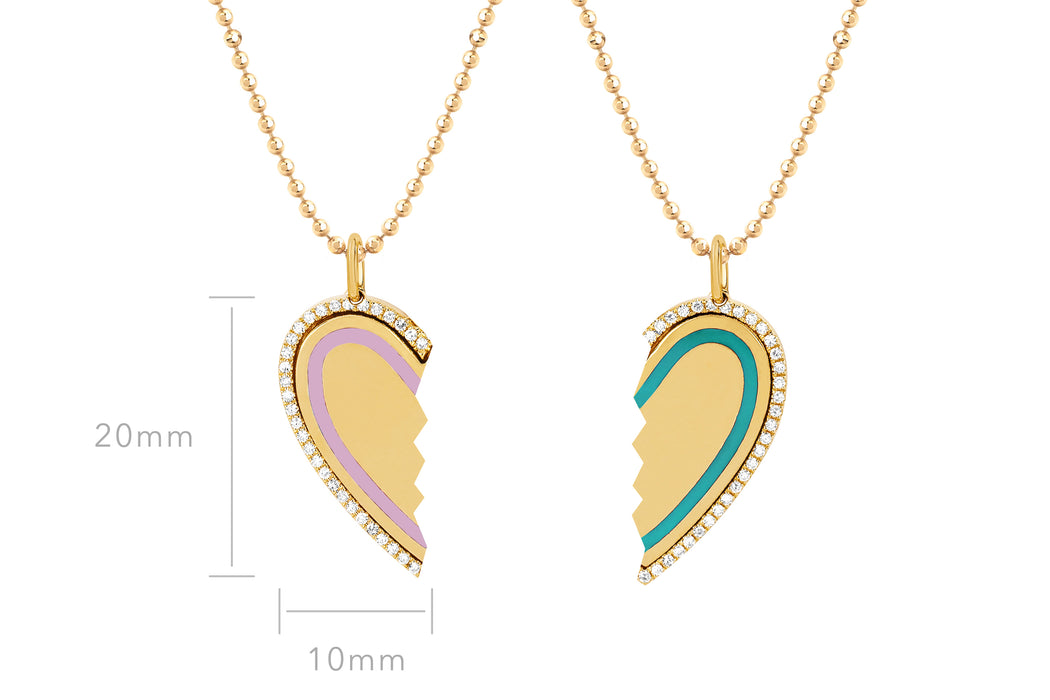 Diamond Turquoise & Light Pink Enamel Heart Friendship Necklace