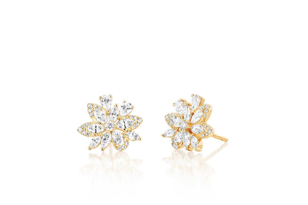 Marquise Diamond Cluster Stud Earring