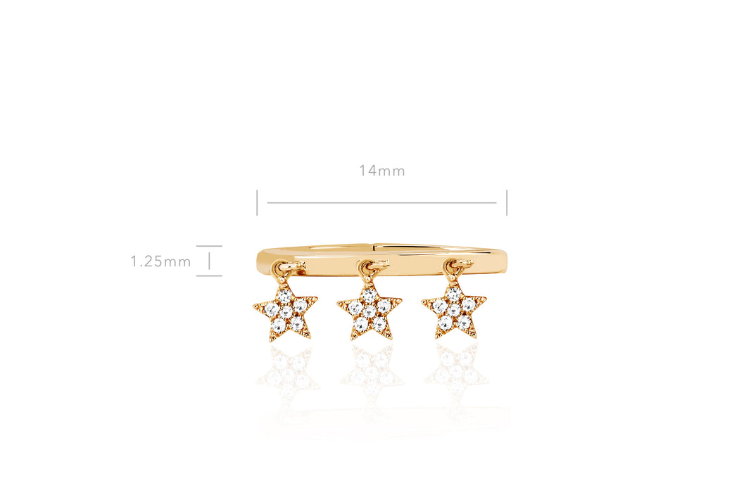 3 Diamond Star Large Ear Cuff (No Piercing)
