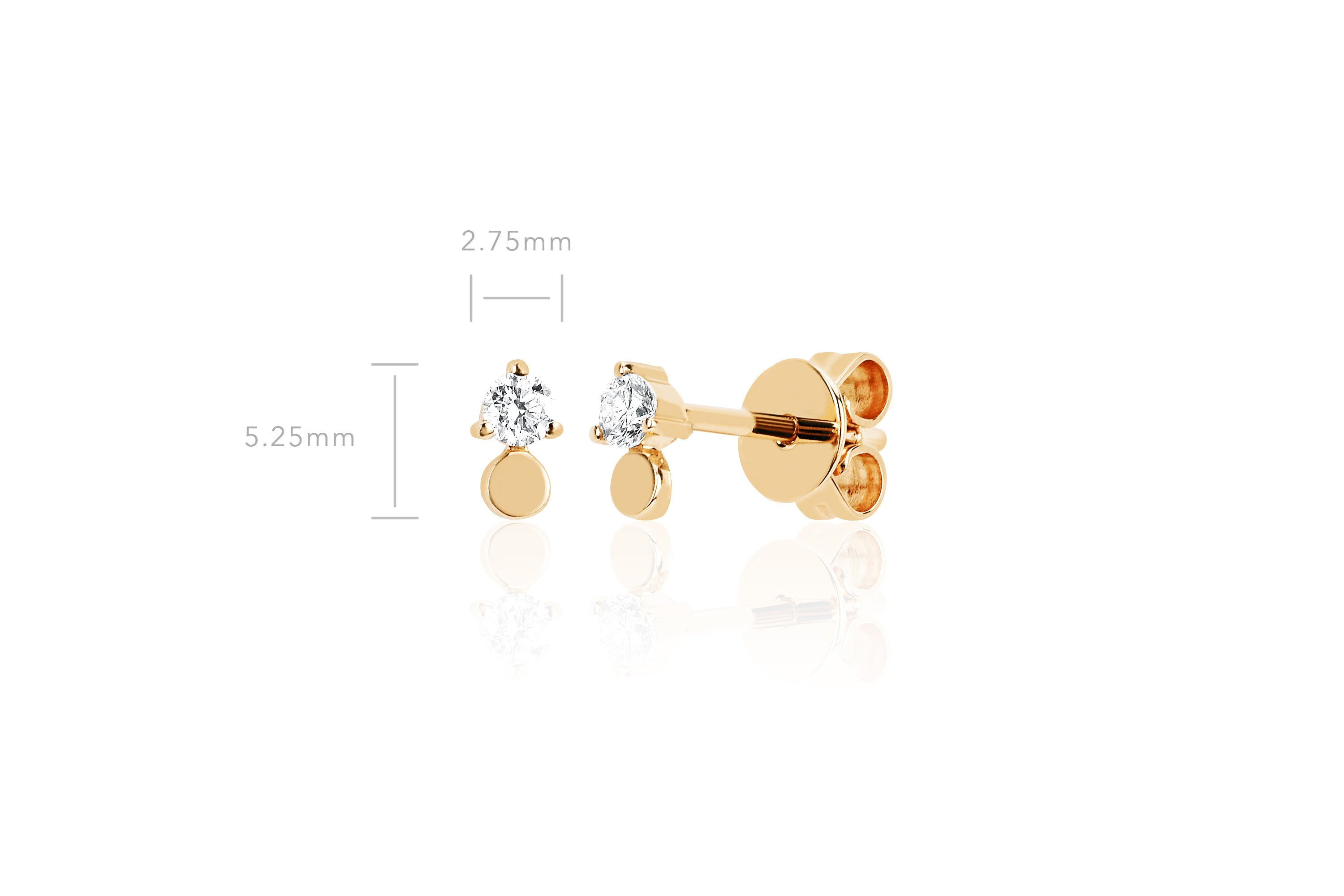 Gold Disc With Prong Set Diamond Stud Earring
