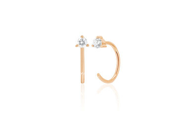 Prong Set Diamond Loop Earring