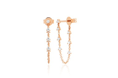 Prong Set Diamond Chain Stud Earring