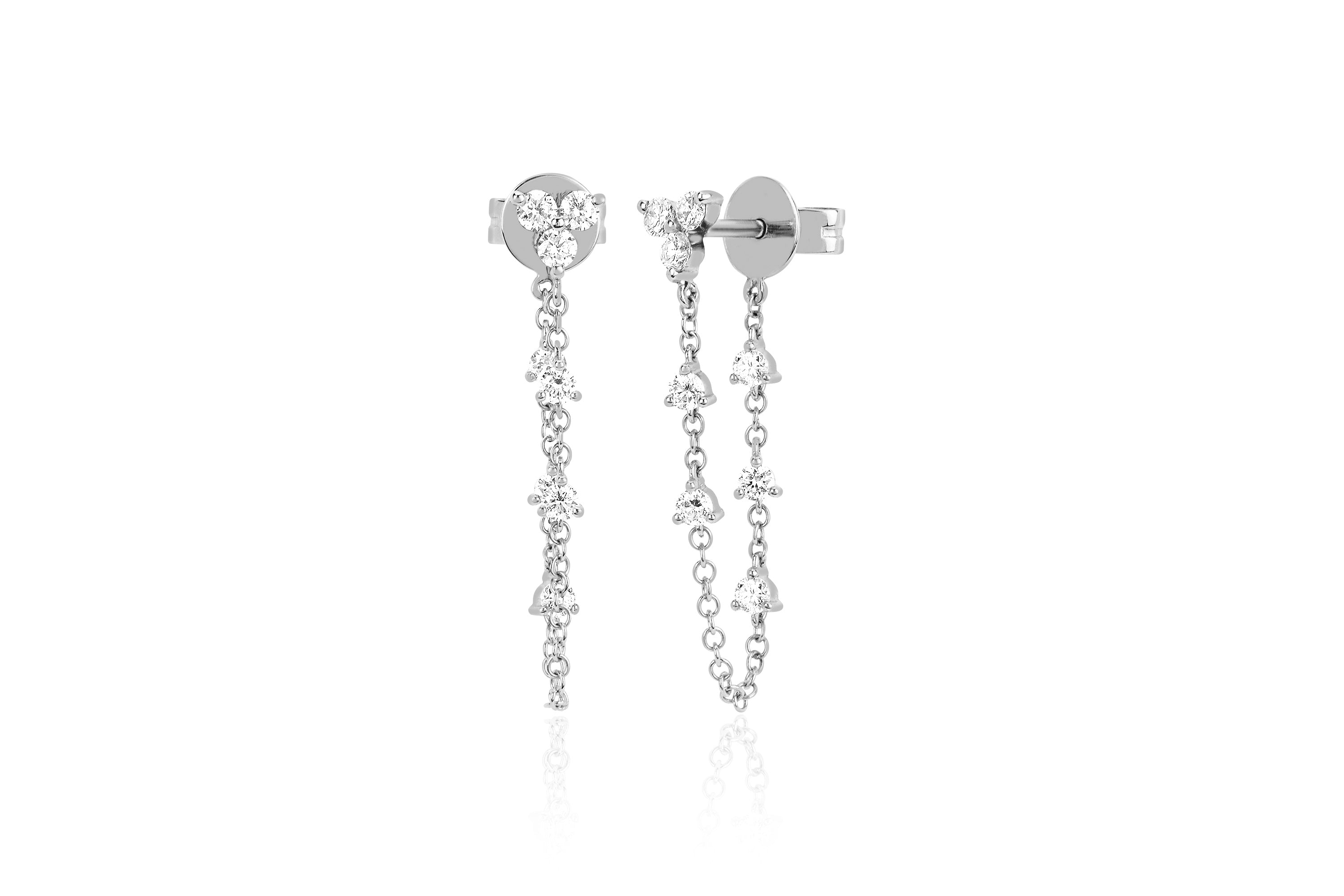 Trio Prong Set Diamond Chain Stud Earring