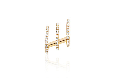 Diamond Triple Huggie Illusion Stud Earring