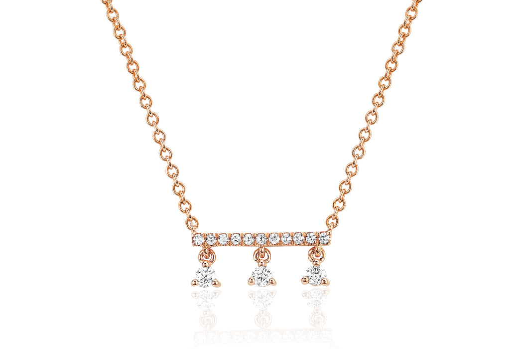 Diamond Bar With Three Prong Set Diamonds Necklace