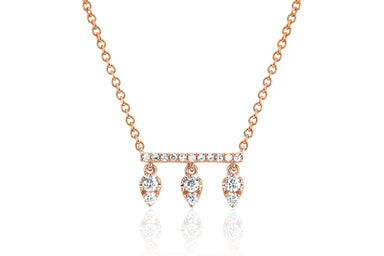 Diamond Bar With Three Teardrops Necklace
