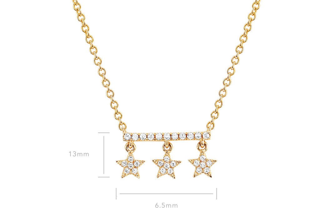 Diamond Bar With Three Star Drops Necklace