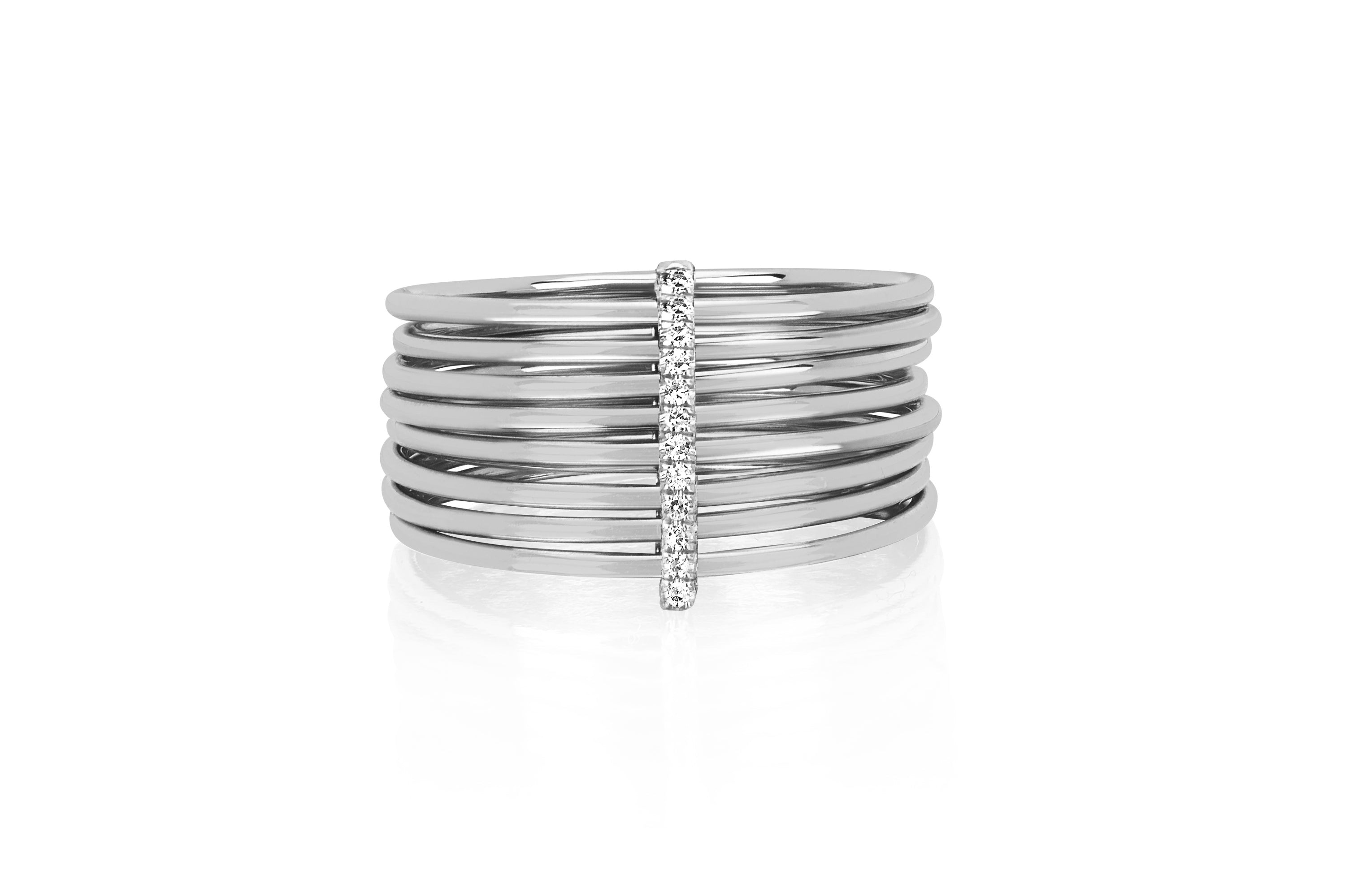 Diamond Bar Multi Band Ring