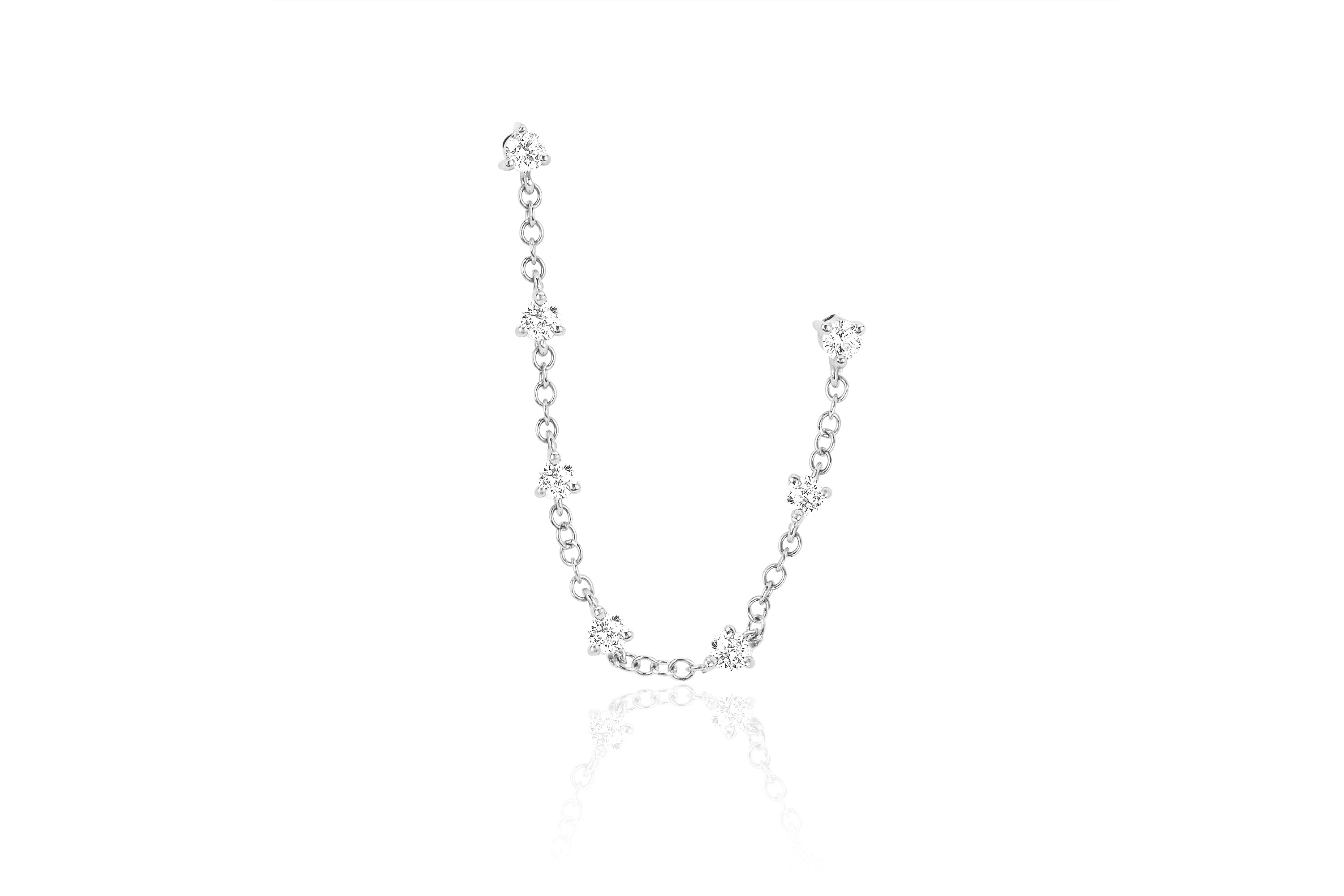 Diamond Double Stud Prong Set Chain Earring