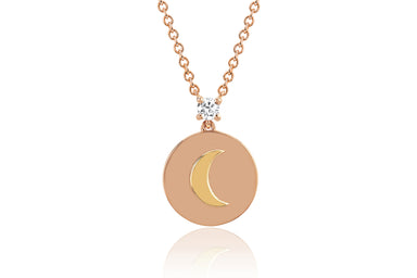 Prong Set Diamond Moon Disc Necklace