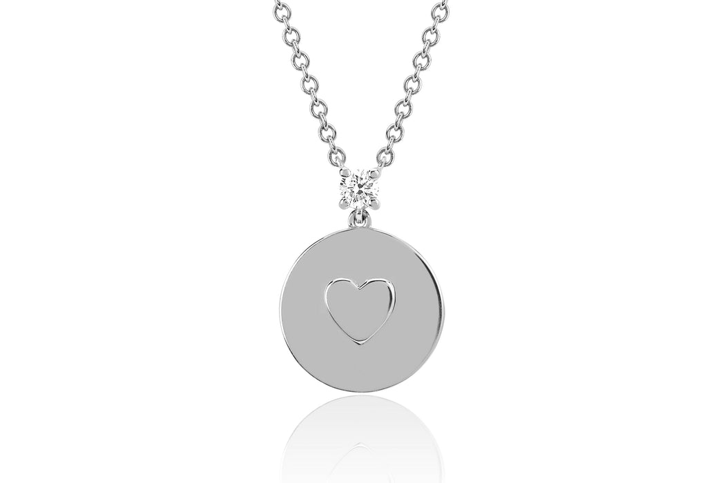 Prong Set Diamond Heart Disc Necklace